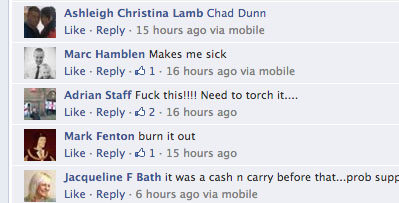 EDL Facebook comments apparently suggest arson