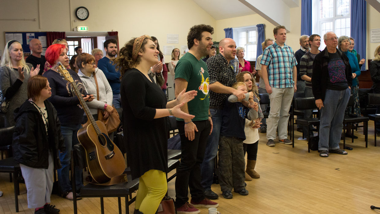 The congregation sings pop songs at Sunday Assembly Bournemouth in Winton