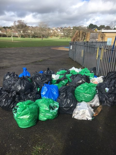 63 bags of rubbish were collected at the event