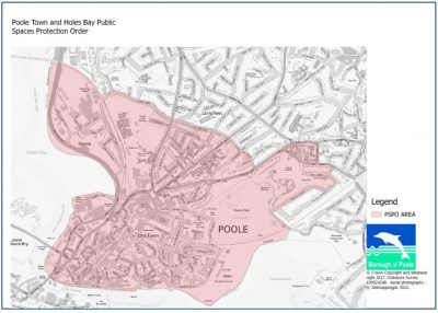 Photo: Poole town centre. A map highlighting the area affected by the PSPO proposal.