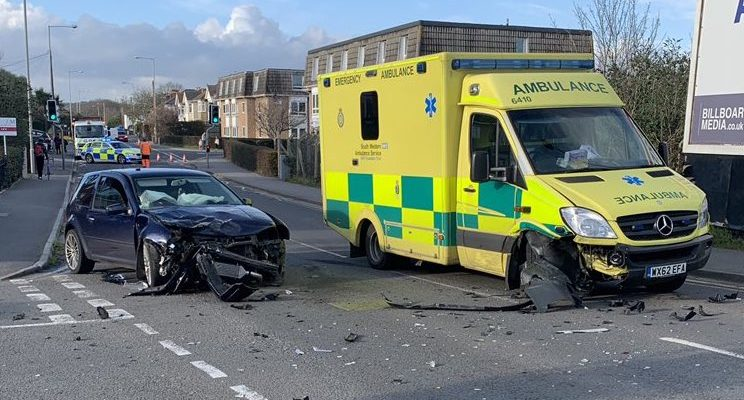 Car crash and ambulance