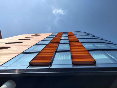 An image looking upwards at the building at One Lansdowne Plaza