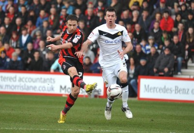 Marc Pugh shoots at the Doncaster goal