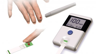 Illustration showing glucose monitoring of diabetes patient
