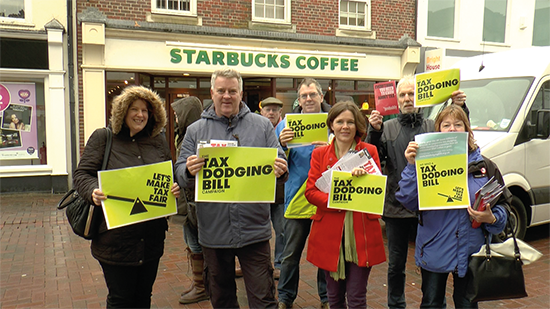 Poole residents outside the Starbucks on High Street