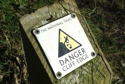 Old Harry Rocks warning sign