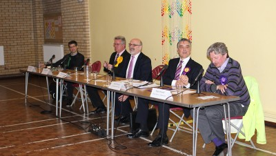 Poole constituency's candidates at the hustings in St Mary's Roman Catholic Church