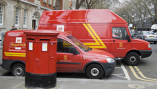 The royal mail delivery vans