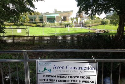 Wimborne footbridge construction in process
