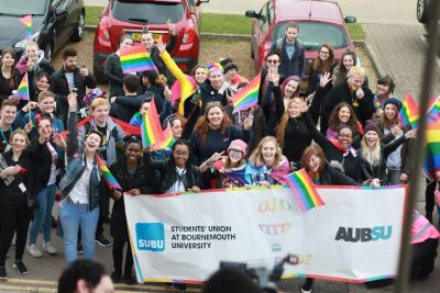 A photograph of a crowd of BU students celebrating Gay Pride 2017