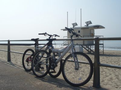 A photo of bicycles locked by Boscombe beach
