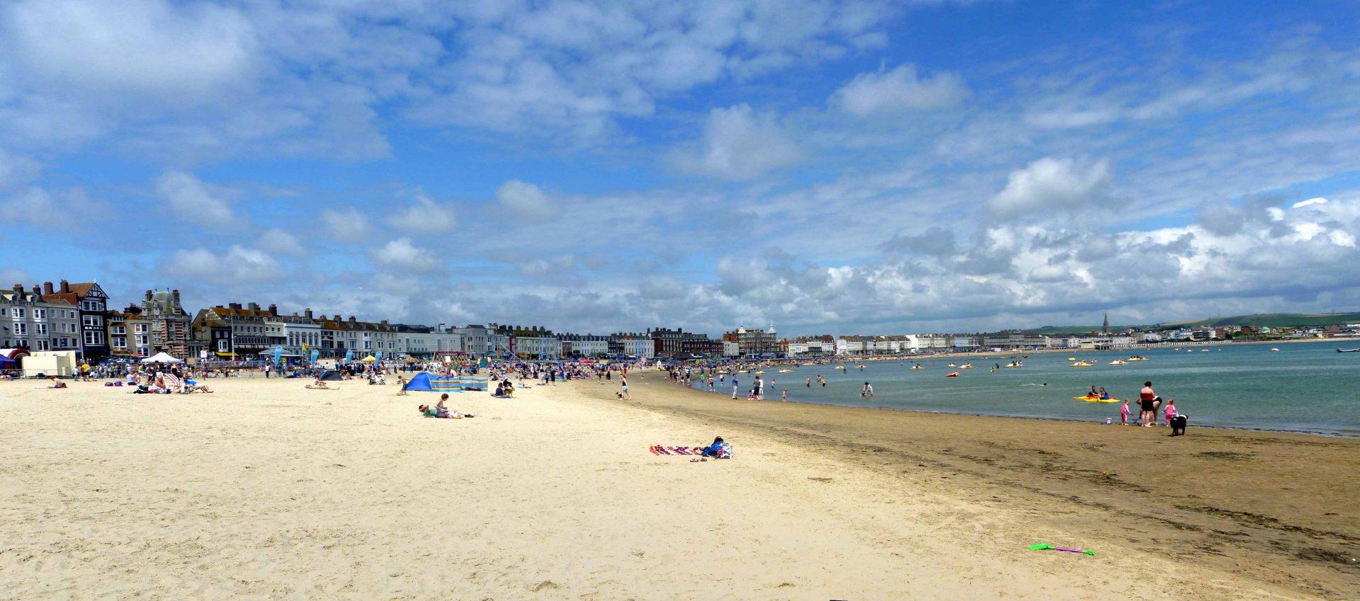 A panoramic photo of Weymouth beach