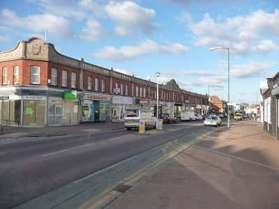 A photograph of local businesses in the Moordown area of Bournemouth