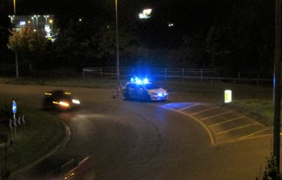 Police car blocks A35 following an incident
