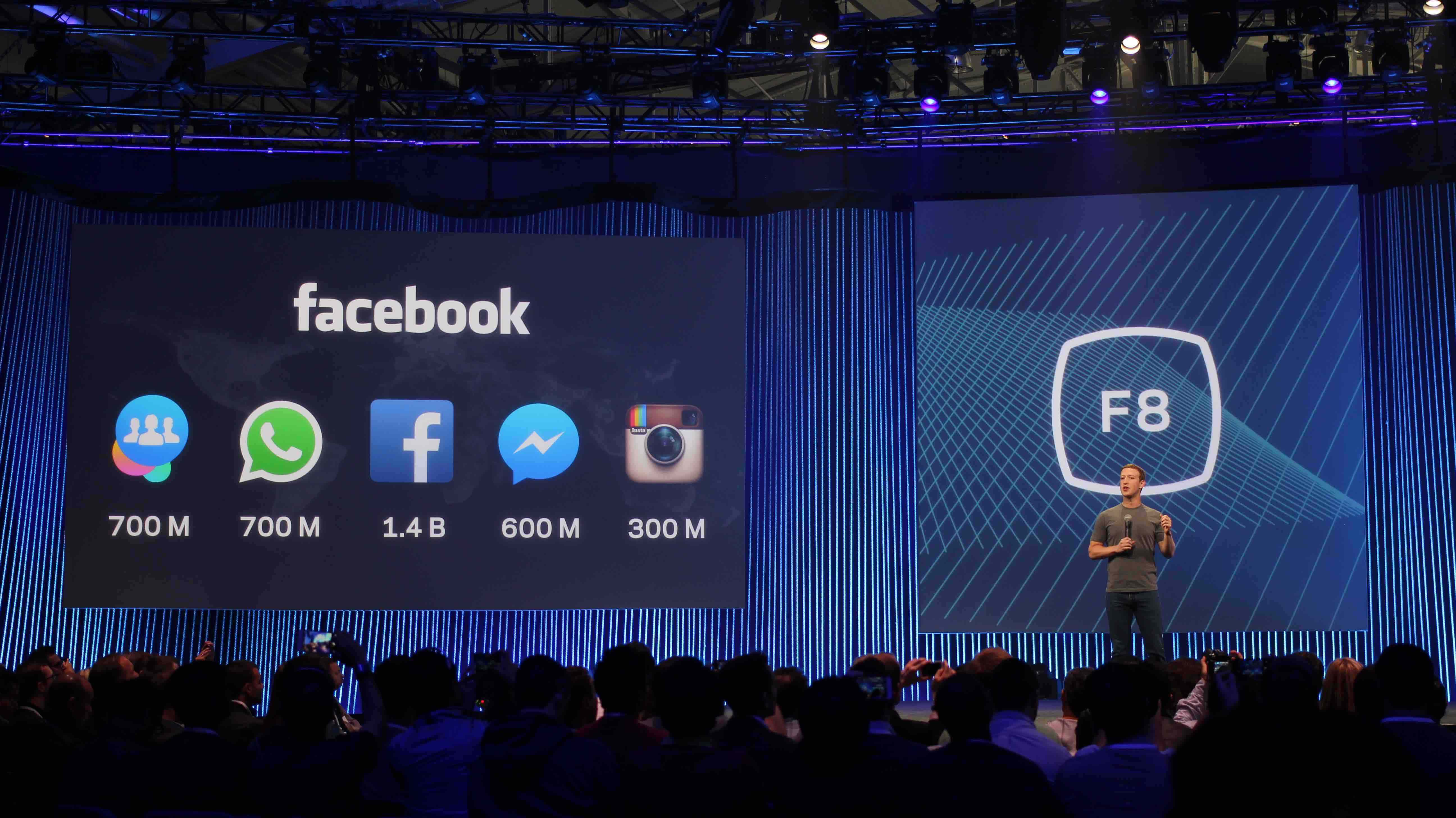 Maurizio Pesce from Milan, Italia. Creative Commons 2.0- Mark Zuckerberg on stage at Facebook's F8 Developers Conference 2015