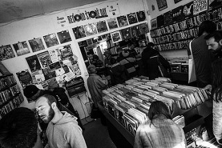 Black and White photo of Record Store day in Crouch End, London