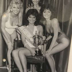 Angie Beasley, competing for Miss England 1985