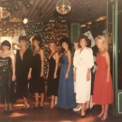 Angie Beasley (in blue) for 1980's Evening Wear Round