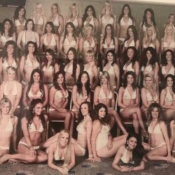 Miss England finalists in 2008, one of the final years of the swimwear parade.