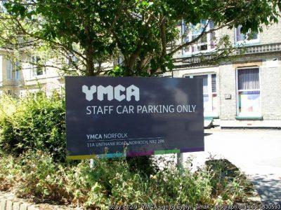 A YMCA sign