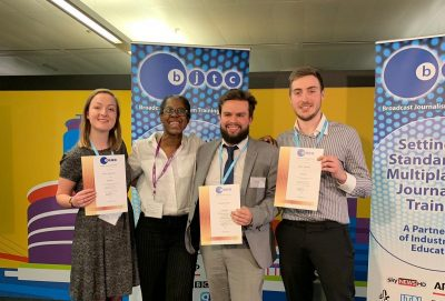 The three award winners with programme leader, Lynda Smith