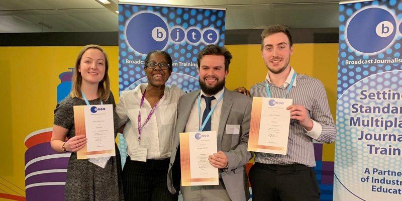 The three award winners with programme leader, Lynda Smith
