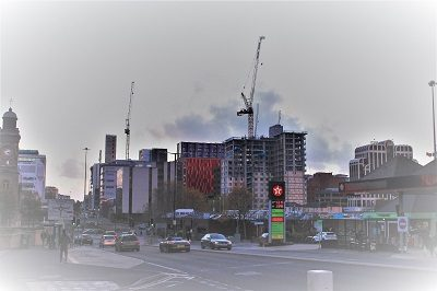 A view of the building construction happening in the Lansdowne area looking west from Holdenhurst Road