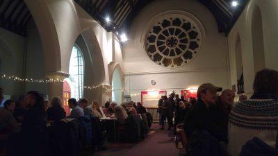 People sat in church