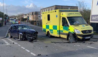 Car crash and ambulance