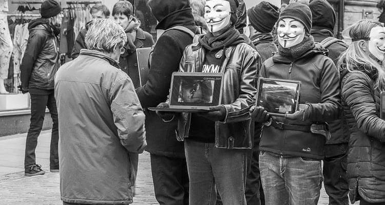 masked individuals demonstration