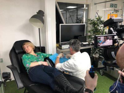 Sasha Twinning getting her chip implanted. 