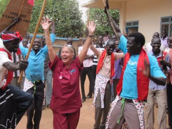 Hilar Fenton-Harris with students in South Sudan