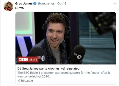 Image of Greg Jame's Tweet referring to BBC Dorset Knob Throwing Festival Cancellation Story