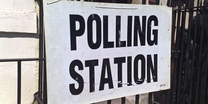 Sign outside polling station