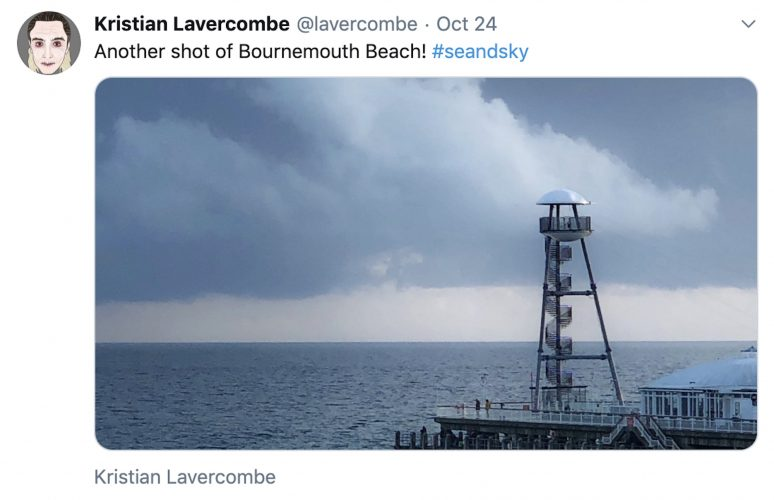 Kristian posts on Twitter about Bournemouth beach with an image