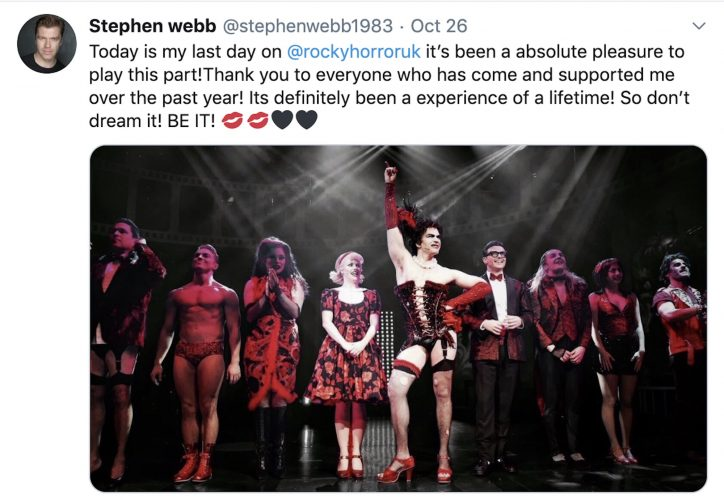 """Stephen Webb posts on Twitter an image of his last show playing """""""""""