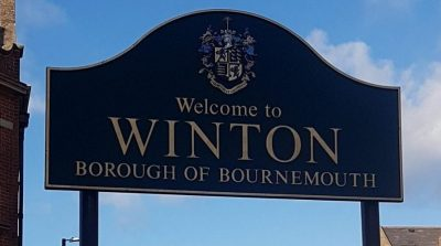Sign showing Winton Borough of Bournemouth at top of high street
