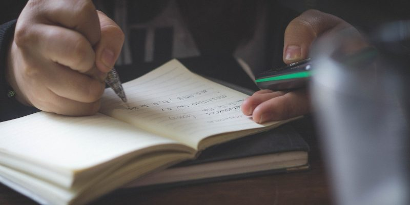 Picture of student doing school work