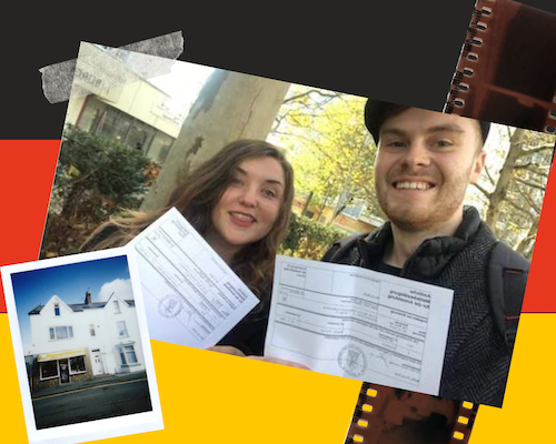 Jasmine and Daniel receiving their residence registration documents, in Berlin. With graphics of the german flag, a Polaroid photo of a house and photo developing strip.