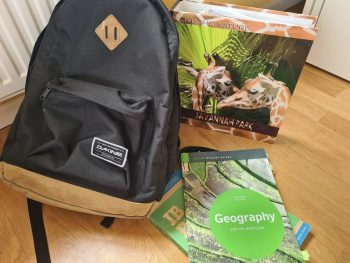 backpack with books