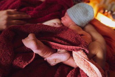 Newborn baby in towel
