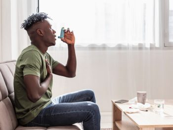 man having asthma